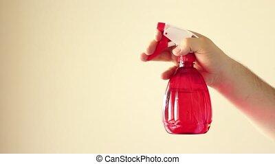 pulvérisation, nettoyage, rouges