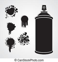 pulvérisation, silhouette, bouteille