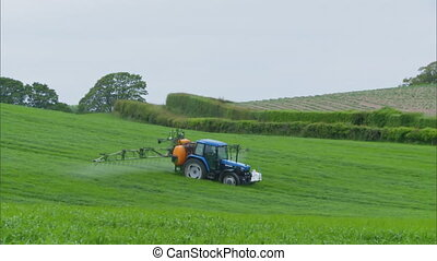pulvérisation, |, tracteur, boom, royaume-uni, ferme, verre, pulvérisateur