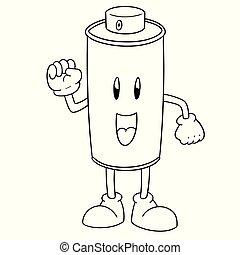 pulvérisation, vecteur, boîte, dessin animé