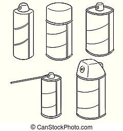 pulvérisation, vecteur, ensemble, boîte