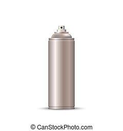pulvérisation, vide, bouteille, métal, aérosol