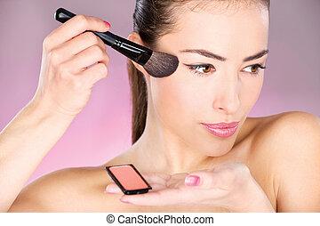 pulver, frau, bewerben, bürste, kosmetisch