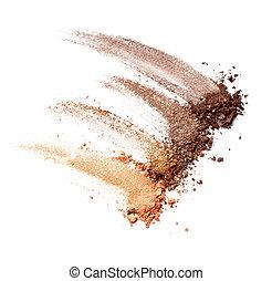 pulver, machen, kosmetikartikel, gesichtsbehandlung, auf