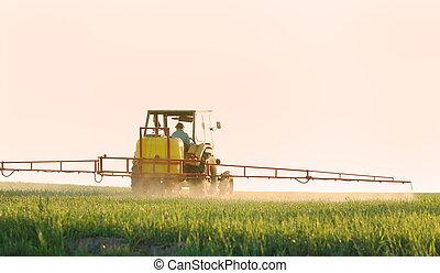 pulverização, a, colheita