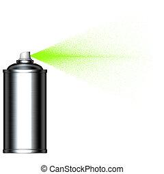 pulverização, pulverizador, verde, lata, visto, névoa, lado