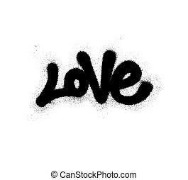 pulverizado, amor, illustration., overspray, sobre, vetorial, graffiti, white., pretas, fonte