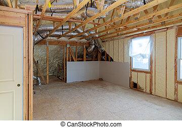 pulverizado, sala, líquido, espuma, isolar, lar, recentemente, constructed
