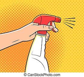 pulverizador, caricatura, limpeza