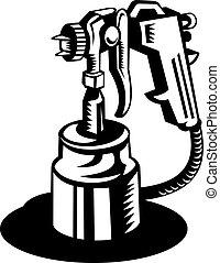 pulverizador, visto, de, un, ángulo alto, en, negro y blanco