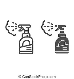 pulverizer, toile, style, icon., 10., contour, bouteille,...