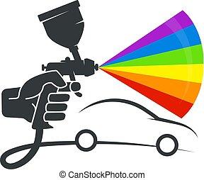 pulverizer, voiture, coloration, main