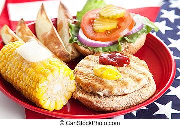 pulyka, piknik, -, burger, negyedik, július