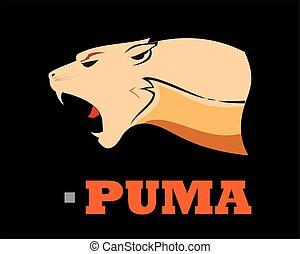 Puma Head. Elegant Bold muscular cougar