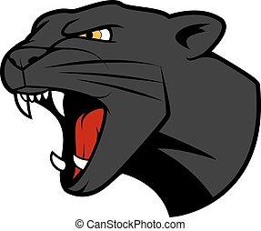 Puma head with bared teeth - Aggressive puma or panther head...