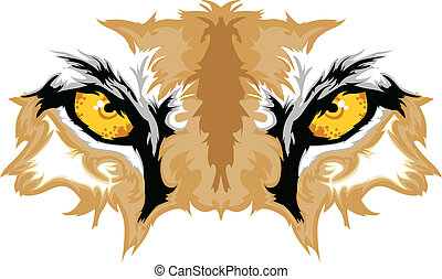 puma, olhos, gráfico, mascote