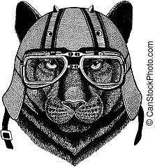 Puma, panther, leopard, jaguar wearing a motorcycle, aero helmet. Hand drawn image for tattoo, t-shirt, emblem, badge, logo, patch.