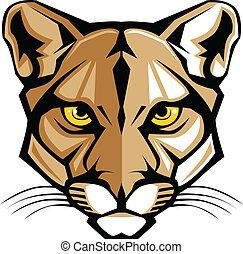 puma, panther, maskottchen, kopf, vektor, g