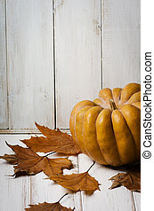 Pumkin and maple leaves