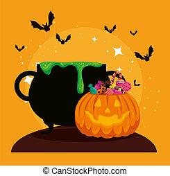 pumkin, halloween, carte, chaudron