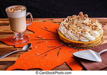 Pumkin Pie Cheese Cake with Latte Coffee