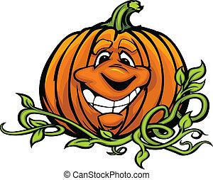 pumkin, winorośle, wizerunek, halloween, głowa, o, wektor, lewarek, uśmiechnięty szczęśliwy, wyrażenie, rysunek, latarnia