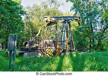 pump, arbete, olja