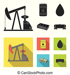 Pump, barrel, drop, petrodollars. Oil set collection icons in black, flat style vector symbol stock illustration web.