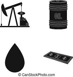 Pump, barrel, drop, petrodollars. Oil set collection icons in black style vector symbol stock illustration web.