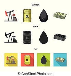 Pump, barrel, drop, petrodollars. Oil set collection icons in cartoon, black, flat style vector symbol stock illustration web.