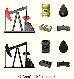 Pump, barrel, drop, petrodollars. Oil set collection icons in cartoon, black style vector symbol stock illustration web.