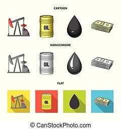 Pump, barrel, drop, petrodollars. Oil set collection icons in cartoon, flat, monochrome style vector symbol stock illustration web.