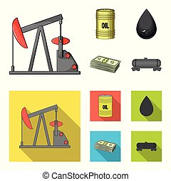 Pump, barrel, drop, petrodollars. Oil set collection icons in cartoon, flat style vector symbol stock illustration web.