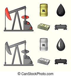 Pump, barrel, drop, petrodollars. Oil set collection icons in cartoon, monochrome style vector symbol stock illustration web.