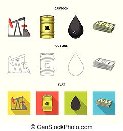Pump, barrel, drop, petrodollars. Oil set collection icons in cartoon, outline, flat style vector symbol stock illustration web.