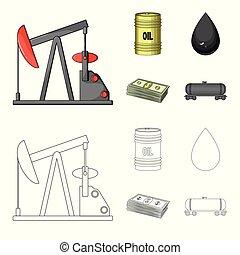 Pump, barrel, drop, petrodollars. Oil set collection icons in cartoon, outline style vector symbol stock illustration web.