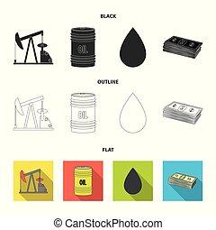 Pump, barrel, drop, petrodollars. Oil set collection icons in cartoon style vector symbol stock illustration web.