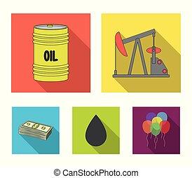 Pump, barrel, drop, petrodollars. Oil set collection icons in flat style vector symbol stock illustration web.