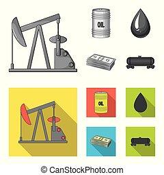 Pump, barrel, drop, petrodollars. Oil set collection icons in monochrome, flat style vector symbol stock illustration web.