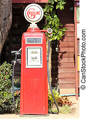 pump, bensin, retro, röd
