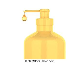 Pump bottle - gold pump bottle on white backgruond