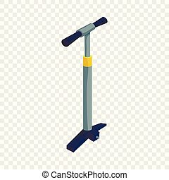 Pump for bicycle icon, isometric style