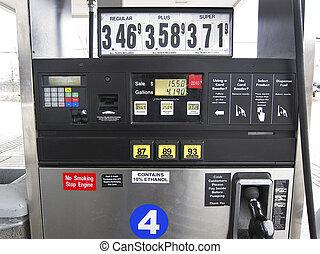 pump, gas, pris, panel