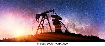 Pump in the background of stars in the Carpathians - Ukraine...