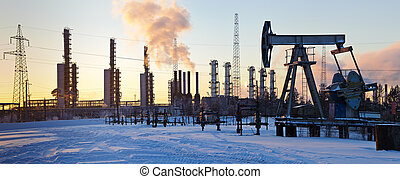 Pump jack and grangemouth refinery. - Oil rig and...