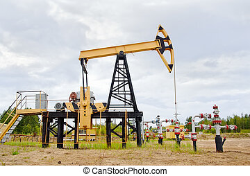 Pump jack and oil well. - Extraction of oil. pump jack and...
