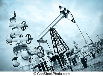 Pump jack and oilwell. - Extraction of oil. Pump jack and ...