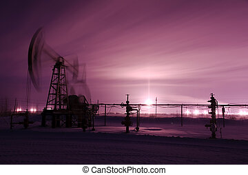 Pump jack and oilwell. - Oil and gas industry. Pump jack. ...