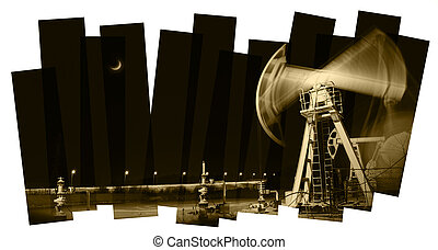 Pump jack and wellhead. Toned sepia. - Oil industry abstract...