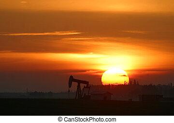 pump jack at sunrise